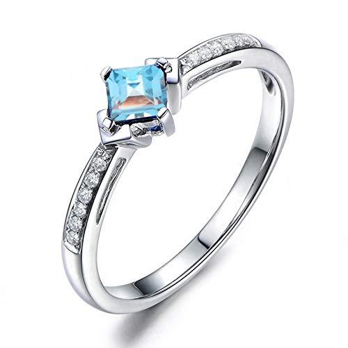 KnSam Echtschmuck Frauen 925 Sterling Silber Ringe mit Topas Zirkonia Damen Trauringe Jahrestrag Antragsring Ringgröße 59 (18.8) Modeschmuck