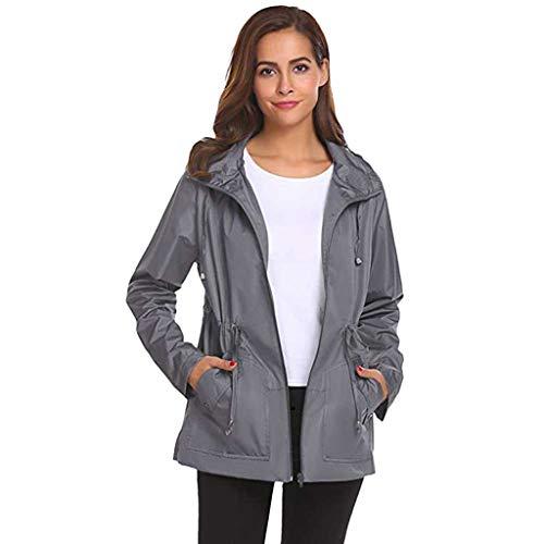 VJGOAL Mantel Damen Jacke Hoodie Sweatshirt Regenmantel Frauen Einfarbig Lose Outdoor Wasserdicht Lange Ärmel Outwear Women Jacket
