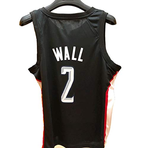 Aojing Herren-Basketball-Trikots, John Wall # 2, Washington Wizards, Basketball-Trikot, NBA Swingman, Unisex Sleeveless T-Shirt (Color : Schwarz, Size : S)