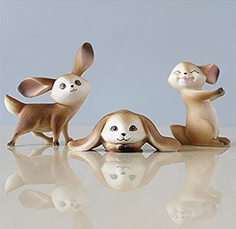 Hase Deko Figur, TASVICOO 3er Set Kaninchen Tierfiguren Spielfiguren für Haus Büro Garten