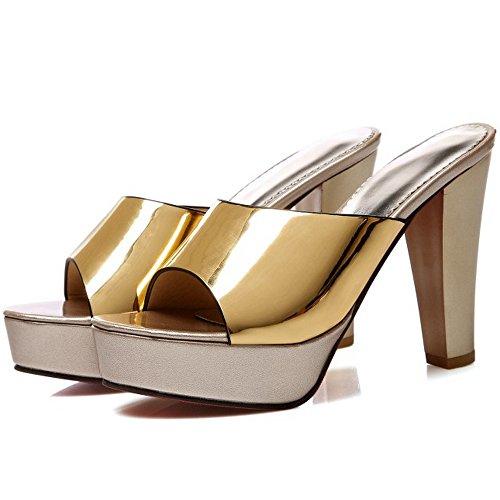 TAOFFEN Femme Elegant A Enfiler Slide Mules Bloc Talon Haut Soiree Sandales Or