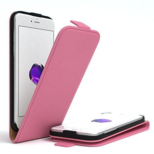 iPhone 8 Hülle / iPhone 7 Hülle - EAZY CASE Premium Flip Case Klapphülle für Apple iPhone 7 & iPhone 8 - Edle Schutzhülle aus Leder mit Magnetverschluss in Schwarz Rosa