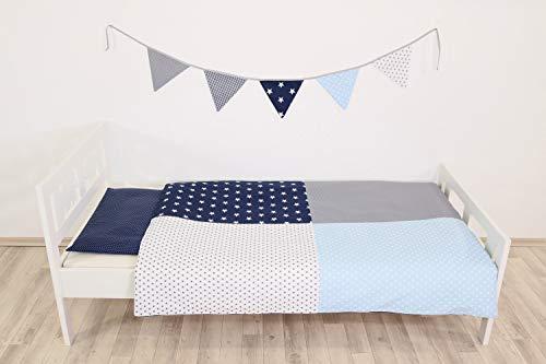 ULLENBOOM ® Kinderbettwäsche Set – in 10 Farbkombis & Designs (2 tlg. Baby Bettset: Kissenbezug 40×60 cm & Bettdeckenbezug 100×35 cm, Patchwork)