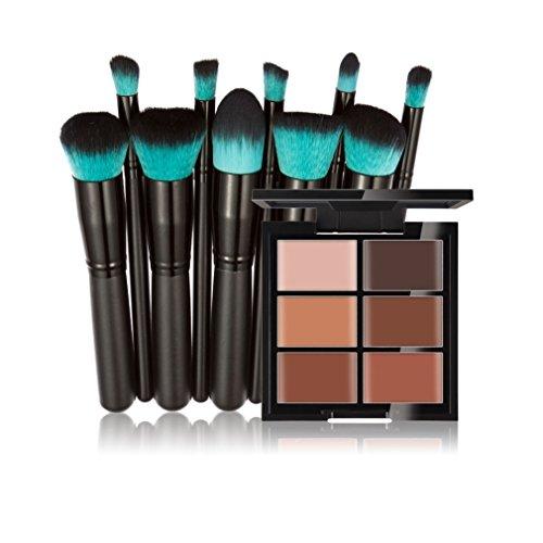 FantasyDay® 6 Farben Creme Concealer Make-up Palette Gesichtscreme Foundation Contouring Abdeckcreme Camouflage Palette Highlighting Cover Abdeck Makeup + 10 Stück Make-up Pinsel Set #3