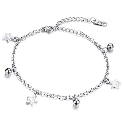 AnazoZ Schmuck Edelstahl Kette Link Armband Für Damen Sterne s Perlen Silber 18.5CM Leder Ipod Armband