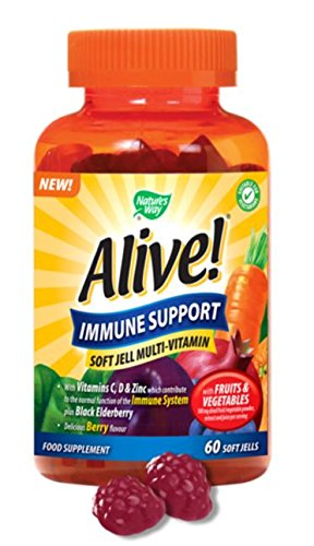 (6 Pack) – Nature's Way – Alive! -Immune Support Soft Jell | 60 Chewables | 6 PACK BUNDLE