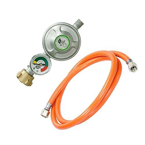 ECD Germany Druckminderer 50 mbar mit Manometer Gasdruckregler Gasbrenner + Mitteldruck-Propanschlauch 100 cm Gasdruckschlauch Gasschlauch (Gas-rohrleitungen)