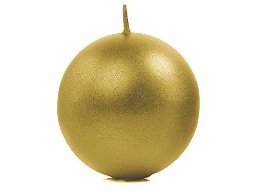 6velas esféricas de color dorado