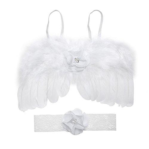 Neugeborene Fotografie Props Baby Jungen Mädchen Feder Engel Flügel mit Blumen Headbands Kostüm Sets (White Angel Baby Kostüme)