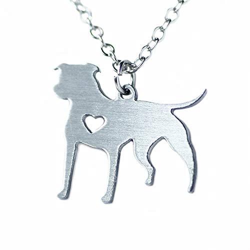 Pitbull Halskette Pit Bull Herz Anhänger Hund Memorial Pet Halsketten & Anhänger Frauen Tier Charme Weihnachtsgeschenk Edelstahl (Ein Von Einer Art Pet Kostüm)
