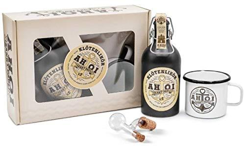 AHOI Klötenlikör Sankt Pauli - Geschenkset mit 1x AHOI Becher + Glaskugel - Ausgießer 2cl