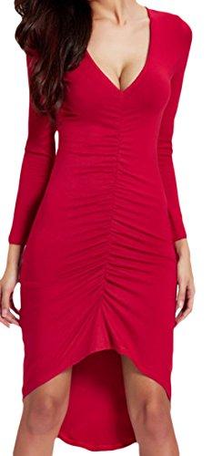 erdbeerloft - Damen Minikleid im Vokuhila Style, S-2XL, Viele Farben Rot