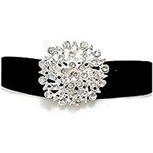 Collar con broche cabuchón flor con brillantes transparentes terciopelo con collar estilo victoriano negro talla ajustable para niñas Mujeres Talla Única