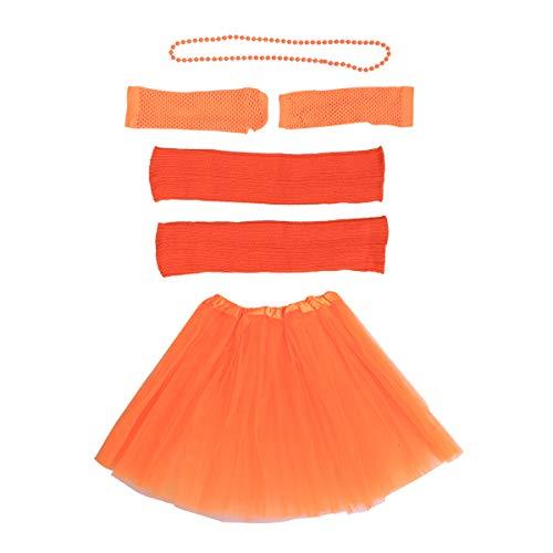 Toyvian 80er Jahre Kostüm Sets für Frauen 80er Jahre Tutu Rock Fingerlose Netzhandschuhe Perlen Halsketten Bein Ärmel für 80er Jahre Party Zubehör (Orange)