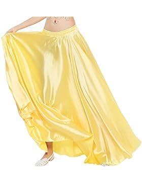Dance Fairy Danza del Vientre Satén Faldas Largas Vestidos de Mujer,Oro