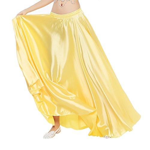 Weihnachts Kostüme Tanz Show (Dance Fairy 1 Stück goldenem Satin langen Rock für Bauchtanz emulierte Seide mit elastischem)
