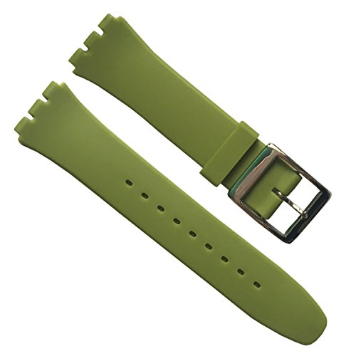 greenolive-19mm-replacement-waterproof-silicone-rubber-watch-strap-watch-band-green