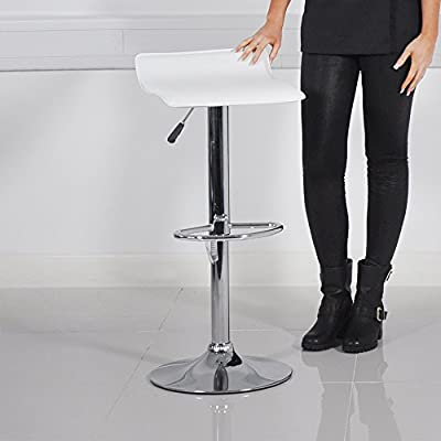 Leather Low Back Breakfast Bar Stool - White - low-cost UK bar stool shop.