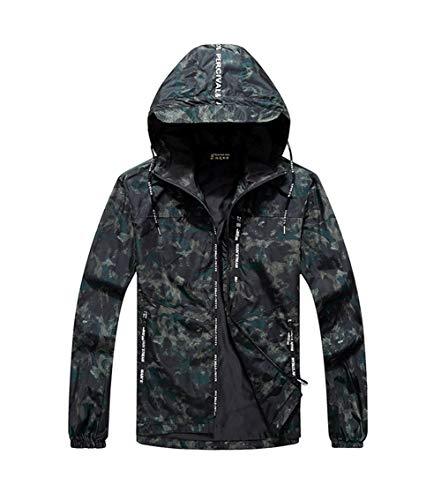 HUAN Mens Plus Size Jacken lösen zufälliges Studenten-Mantel-Männer Plus Düngemittel, Windbreaker-fette mit Kapuze Jacke zu erhöhen (Farbe : Grün, Größe : 10XL (160-175kg))