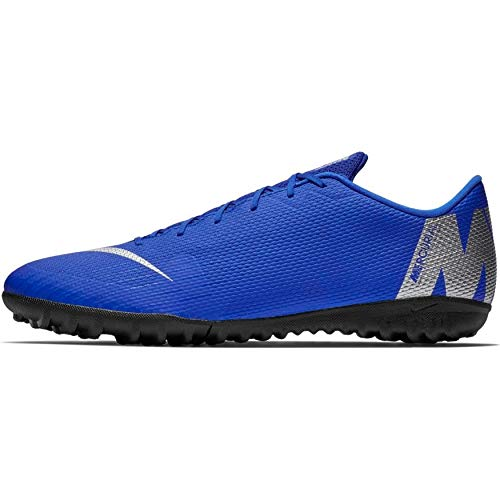 Nike Vapor 12 Academy Tf, Scarpe da Calcetto Indoor Unisex-Adulto, Multicolore (Racer Blue/Metallic Silver/Black/Volt 400), 42 EU