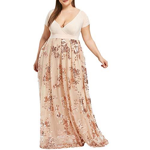 Beonzale Frauen Elegant Plus Size V-Ausschnitt Kurzarm Spitzenkleid Floral Pailletten Abend Party Mesh Kleid Blumenkleider Cocktailkleid -