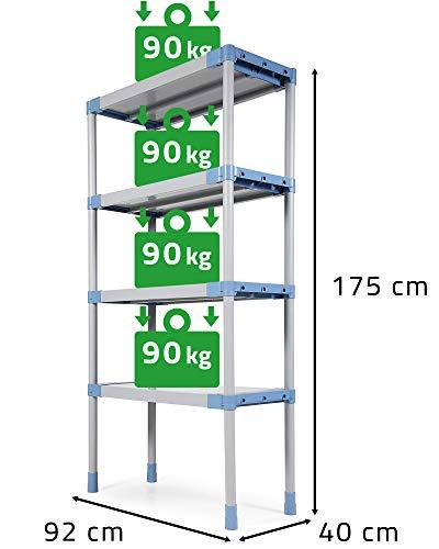 Ondis24 Kunststoffregal MAXI, Lagerregal 92 x 40 x 175 (H) cm, Kellerregal 360kg, Steckregal mit 4 Einlegeböden, Wandregal 4x 90kg belastbar, Schwerlastregal mit Wandhalterung