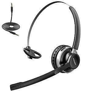 Mpow Bluetooth Headset, 3.5mm Audio-Headset für PC Handy, V4.2 Bluetooth Headset mit Mikrofon, 13 Stunden Spielzeit On Ear Leicht Headset Telefon Headset für Skype,Call Center, LKW, Handys