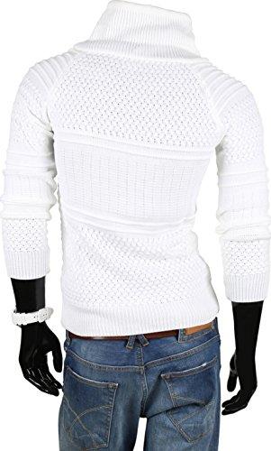 VAN HILL Herren Pullover Strickjacke Grobstrick Kapuzenpullover Zipper Rollkragenpullover Winter Größe S - XXL Weiss Brooklyn