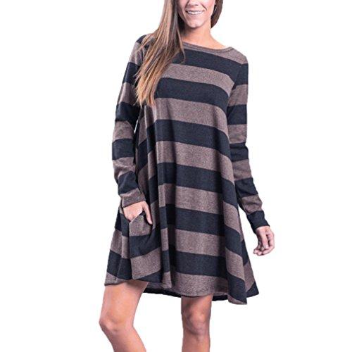 Preisvergleich Produktbild Langarm Shirt Sunday Damen Gestreifte Bedruckte Beiläufig Swing Tunika Kleid Lose Taschen (Schwarz, XL)