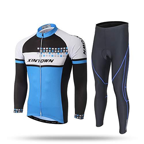 Pinjeer Blau Hauptfarbe Herren Frühling Herbst Lange Radtrikot Bekleidung Atmungsaktive Team Bike Jersey Männer Langarm-Sets Quick Dry Outdoor MTB Reiten Sportswear (Größe : S)
