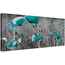 Modern Black and White Canvas Prints of Teal Poppies - Wide Turquoise Floral Wall Art - 1139 - Wallfillers® by Wallfillers