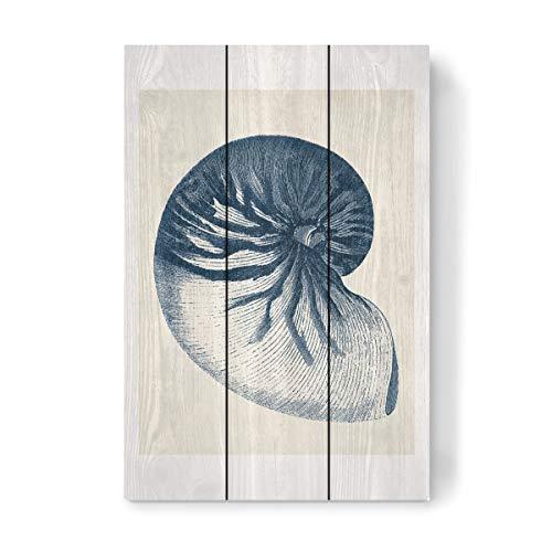 artboxONE Holzbild 45x30 cm Natur Indigo Coastal-V von Künstler FabFunky