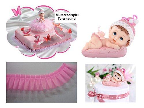 Torten Deko Set Babyparty Taufe Geburt 1.Geburtstag Mädchen 2 teilig Kuchendeko Tortenfigur Tortenkerze