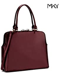 Women Shiny Patent Leather Handbag Top Handle Satchel Shoulder Bag W/ Top Rhinestone Burgundy By Mky