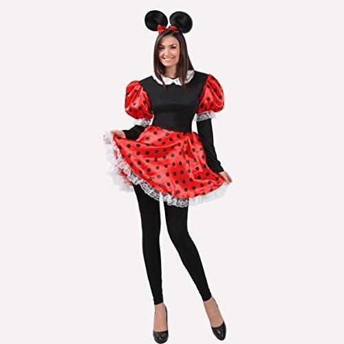 Vestito costume maschera di carnevale adulti topoletta minnie - taglia 44