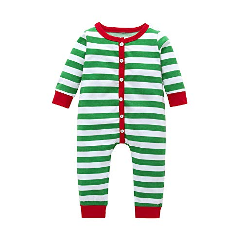 POLP Niño Navidad Bebe Ropa Disfraz Navidad Bebe Navidad Regalo Mono navideño de Rayas Unisex Mameluco Bebe niña Invierno Pijama Bebe 6meses-24meses