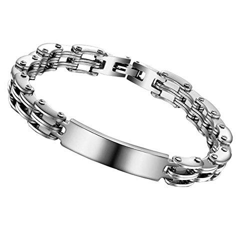 Bracelet Homme chaine de velo en Acier Inoxydable Couleur Argentée – Gourmette Garçon Ado Homme 21cm *0,8 cm- Bijou pour Homme en Acier