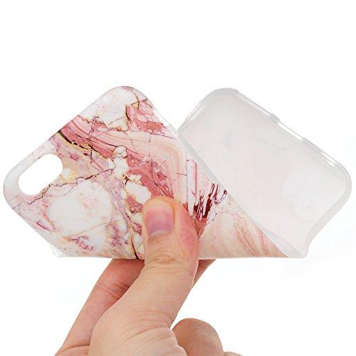 iPhone 6/6S Hülle Badalink UltraSlim Schutzhülle TPU Handyhülle Case Cover Rosa Marmor Handytasche Anti-Rutsch Kratzfest + Eingabestifte + Staubschutz Stecker Rosa