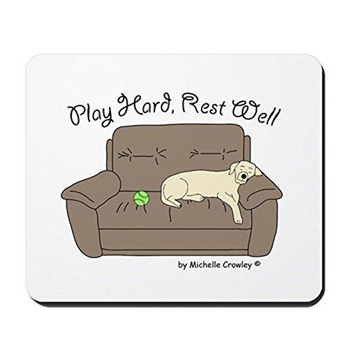 CafePress–Gelb Lab–Play Hard–rutschfeste Gummifüße Mauspad, Gaming Maus Pad (Gelben Zitat T-shirt)