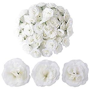 BUONDAC 50pcs Cabezas de Rosa Flores Rosa Artificiales en Seda para Manualidades Decoración de Boda Fiesta Hogar Jarrones Blanca