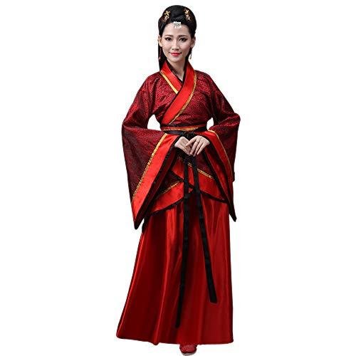 DAZISEN Damen Tang Anzug - Chinesische Braut Kostüm Traditionellen Hanfu Cosplay Kleidung, Rot/XL