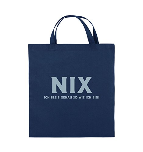Comedy Bags - NIX ICH BLEIB GENAU SO - Jutebeutel - kurze Henkel - 38x42cm - Farbe: Schwarz / Pink Navy / Eisblau