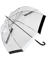Paraguas transparente cúpula blanco y negro