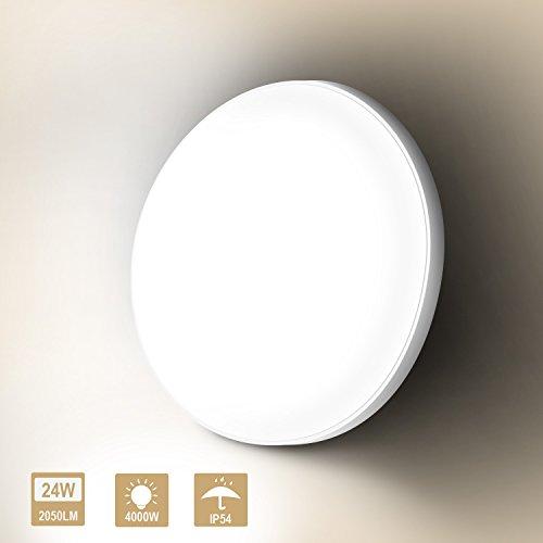 J&C Deckenleucht 24W LED Beleuchtung Rund φ280*48MM 2050LM Badlampe IP54 Wasserdicht 4000K...