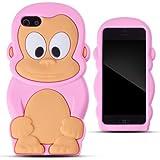 Zooky® rosa niedlich Silikon Affe Schutzhülle / Hülle / Cover für Apple iPhone 5C