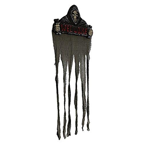 """MagiDeal Türvorhang Halloween Deko \'\' Welcome\"""" Schild mit Totenkopf Geist 106 x 37cm"""