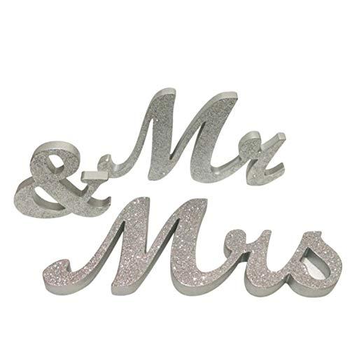 Kongqiabona Herr und Frau Zeichen Schatz Hochzeit Tischdekoration Holzbuchstaben Splitter Glitter Mit Blume Basis Dekor Haushalt