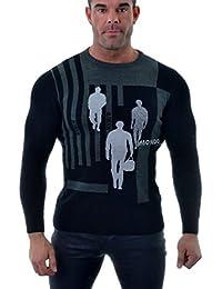 D&R Fashion Hommes Sweat Noir Gris slim ras du cou Puces Paillettes mélange de coton