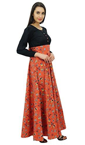 Bimba col rond longue robe boho maxi gothique fleuri de plein-douille des femmes noir et orange foncé