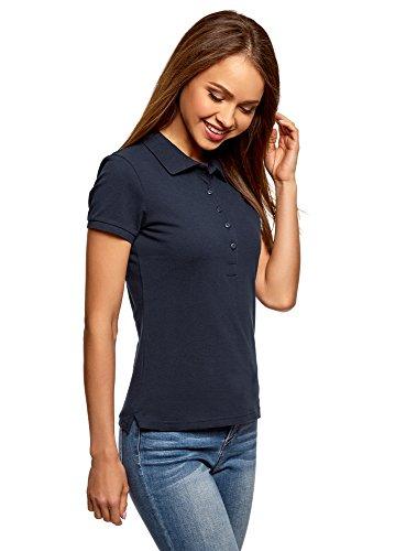 oodji Ultra Damen Pique-Poloshirt Basic , Farbe - Blau (7900N) , Gr. S